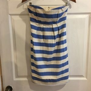 Ivory & Blue Striped J Crew Strapless Dress Sz 2